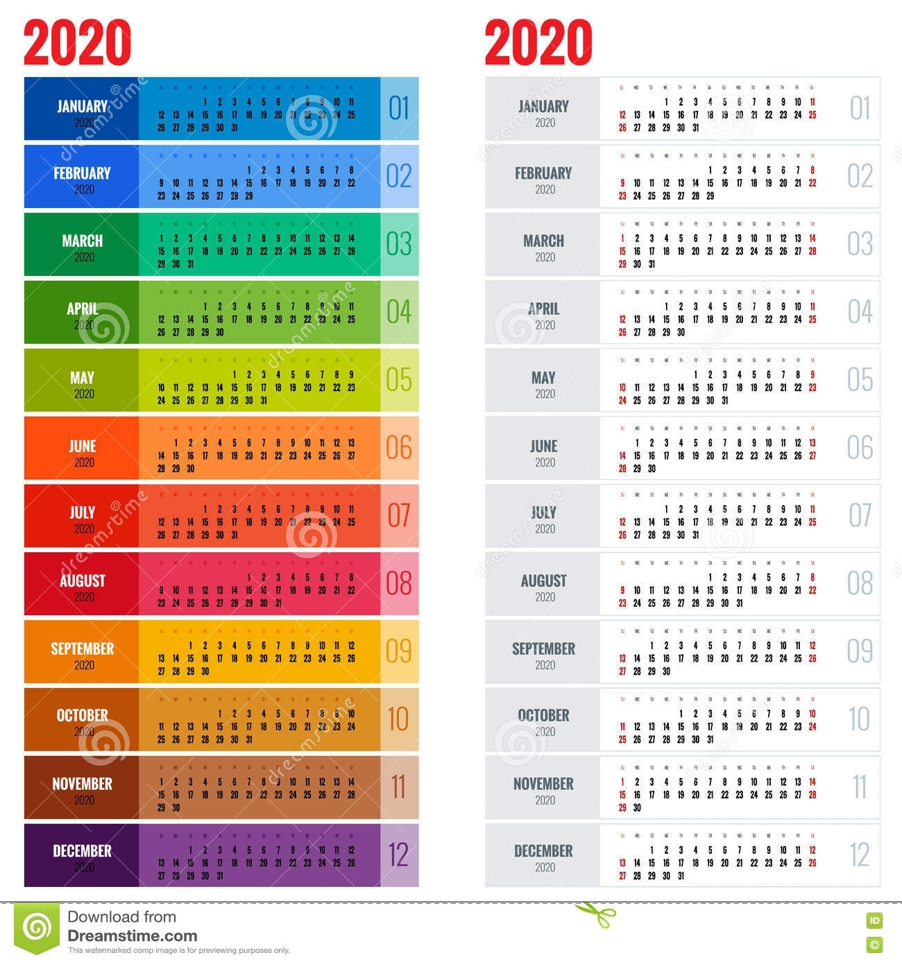 Yearly Wall Calendar Planner Template For 2020 Year. Vector Design within 4 Week Calendar To Print
