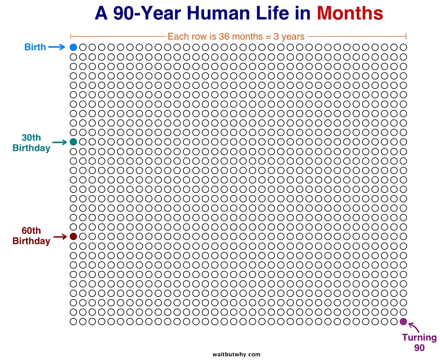 Your Life In Weeks — Wait But Why inside Months With Number Of Days On A Chart Paper