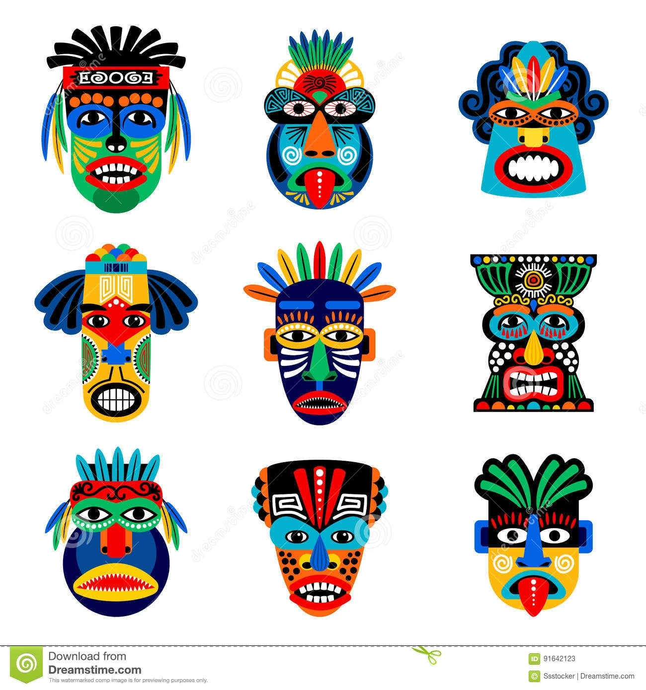 Zulu Or Aztec Mask Icons Stock Vector. Illustration Of Head - 91642123 inside Aztec Masks And Ther Meanings