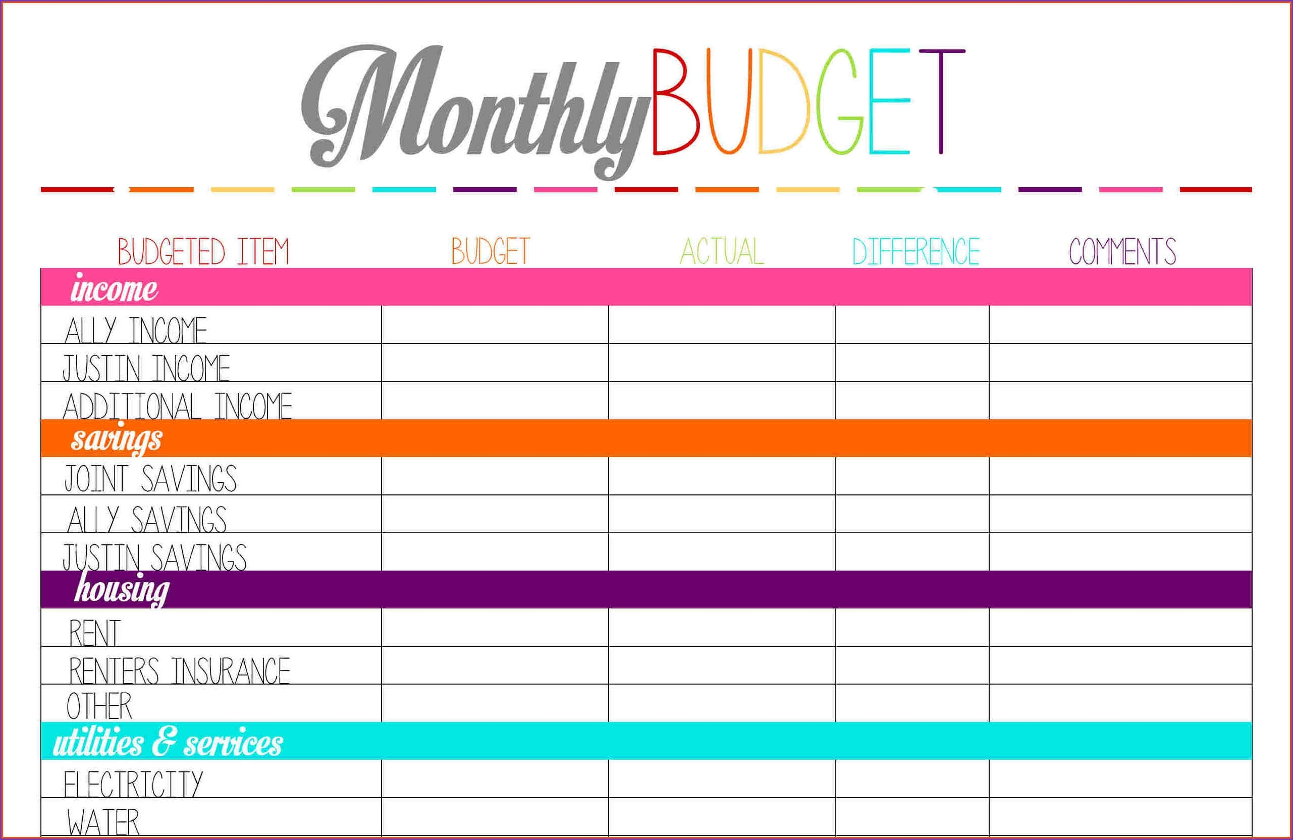 016 Weekly Budget Planner Template Free Plan Templates 20Template inside Monthly Bill Template Free Printable