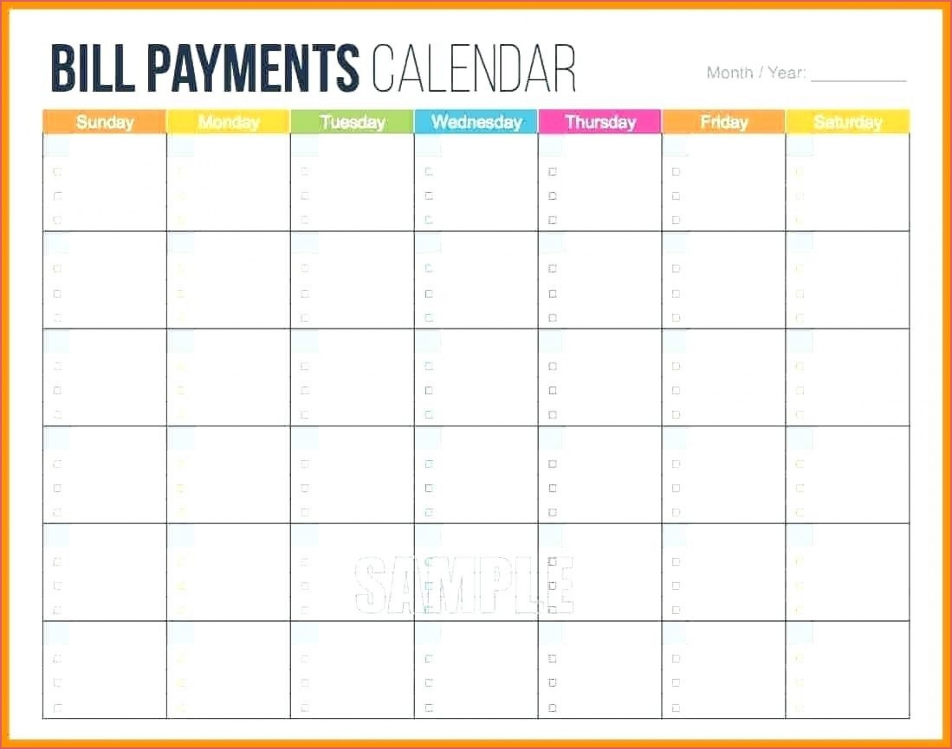 021 Monthly Bill Template Calendar Printable Plan Fascinating throughout Printable Bill Payment Month Year
