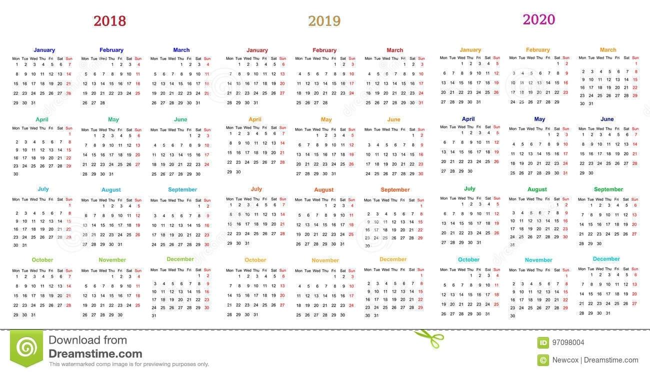 12 Month Calendar Design 2018-2019-2020 Stock Vector - Illustration with regard to U Of C Calendar 2019/2020