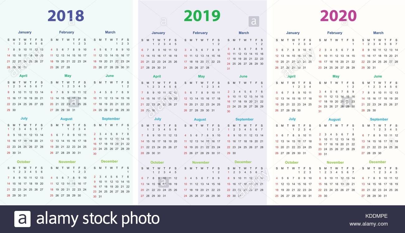 12 Months Calendar Design 2018-2019-2020 Printable And Editable inside 2019-2020 Printable Calendar One Page