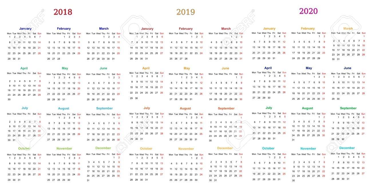 12 Months Calendar Design 2018-2019-2020 Printable And Editable pertaining to 2019 2020 Calendar Fillabel Printable
