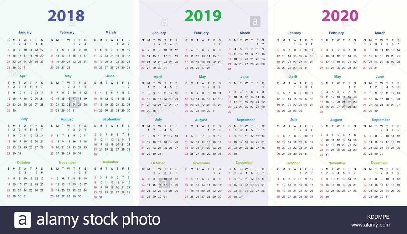 12 Months Calendar Design 2018-2019-2020 Printable And Editable within 2019 2020 Calendar Fillabel Printable