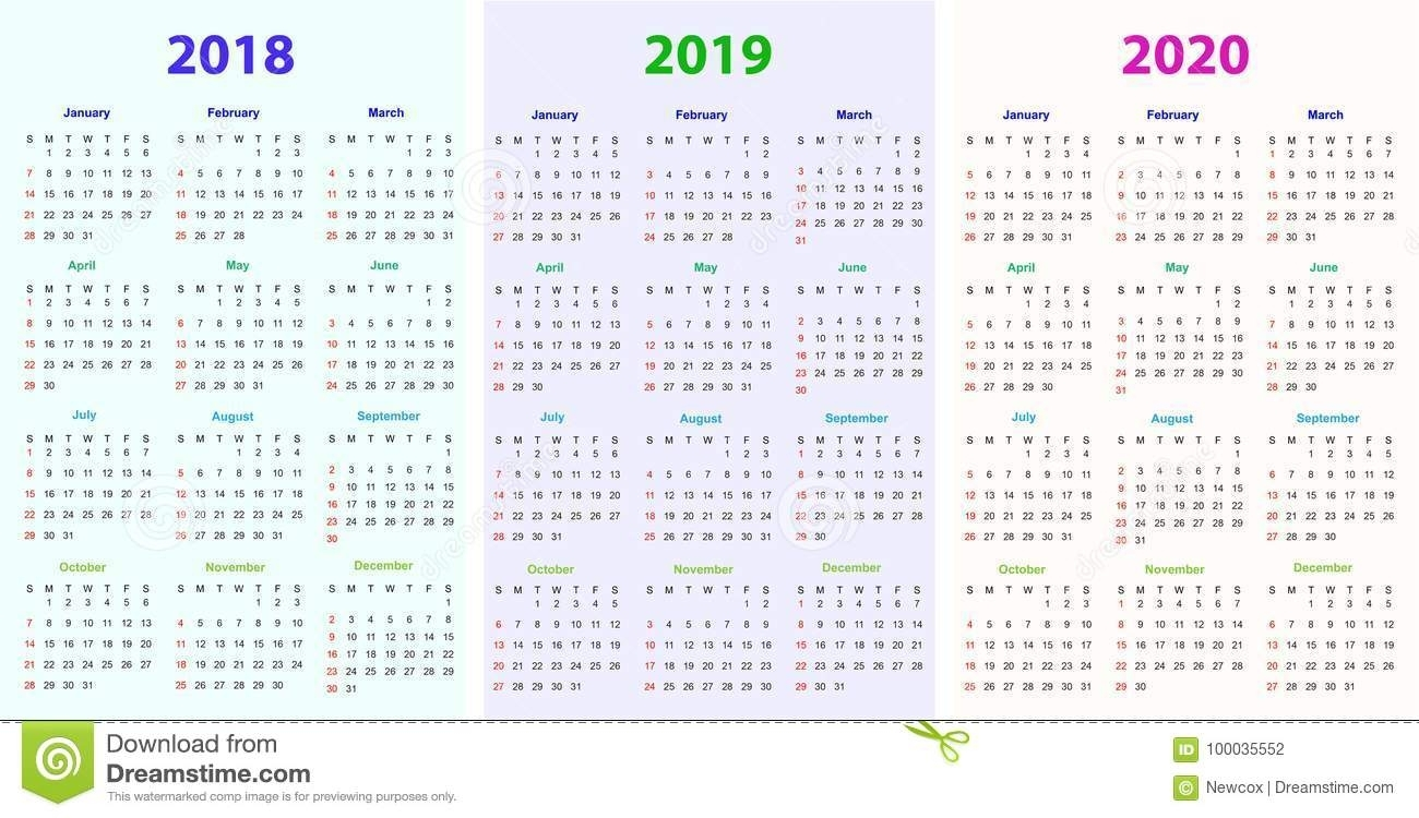 12 Months Calendar Design 2018-2019-2020 Stock Vector - Illustration pertaining to Free Printable Calendars 2019-2020 With Holidays