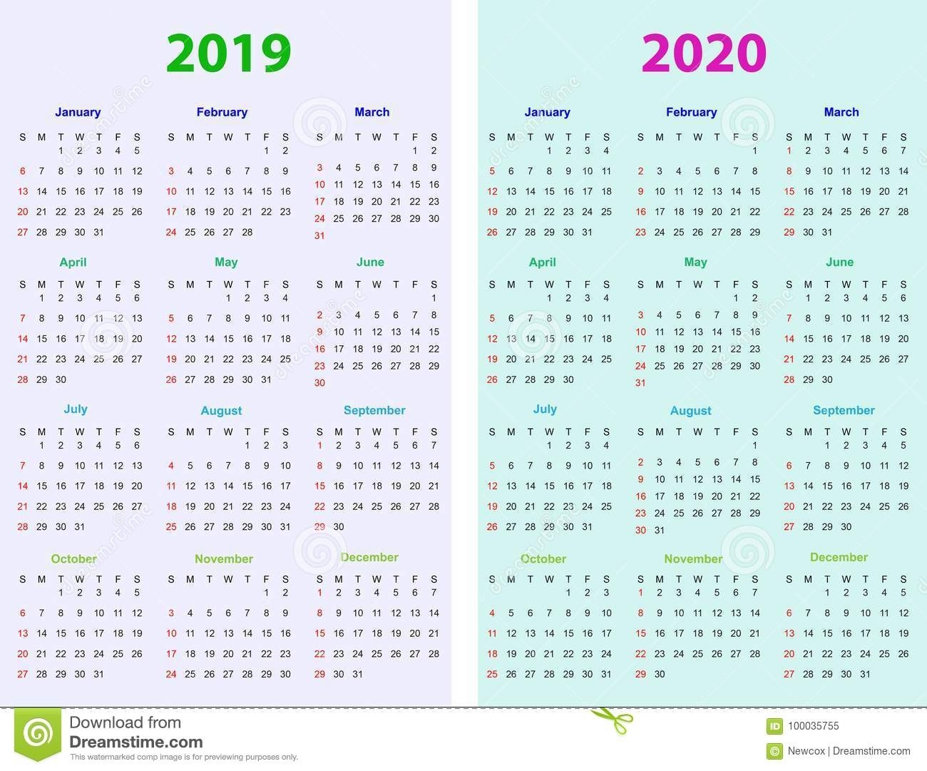 12 Months Calendar Design 2019-2020 Stock Vector - Illustration Of with regard to 2020 Printable Calendar 8.5 X 11 Free