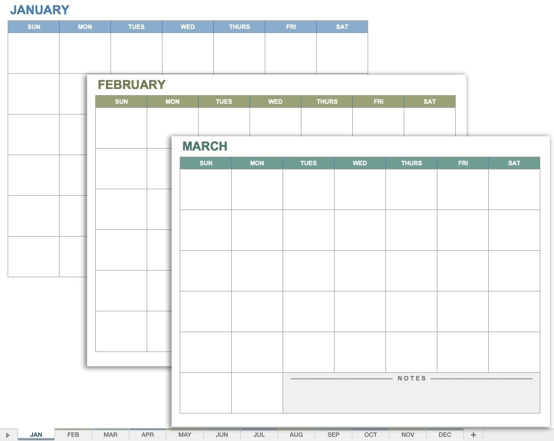15 Free Monthly Calendar Templates | Smartsheet intended for Printable 3 Month Calendar Template