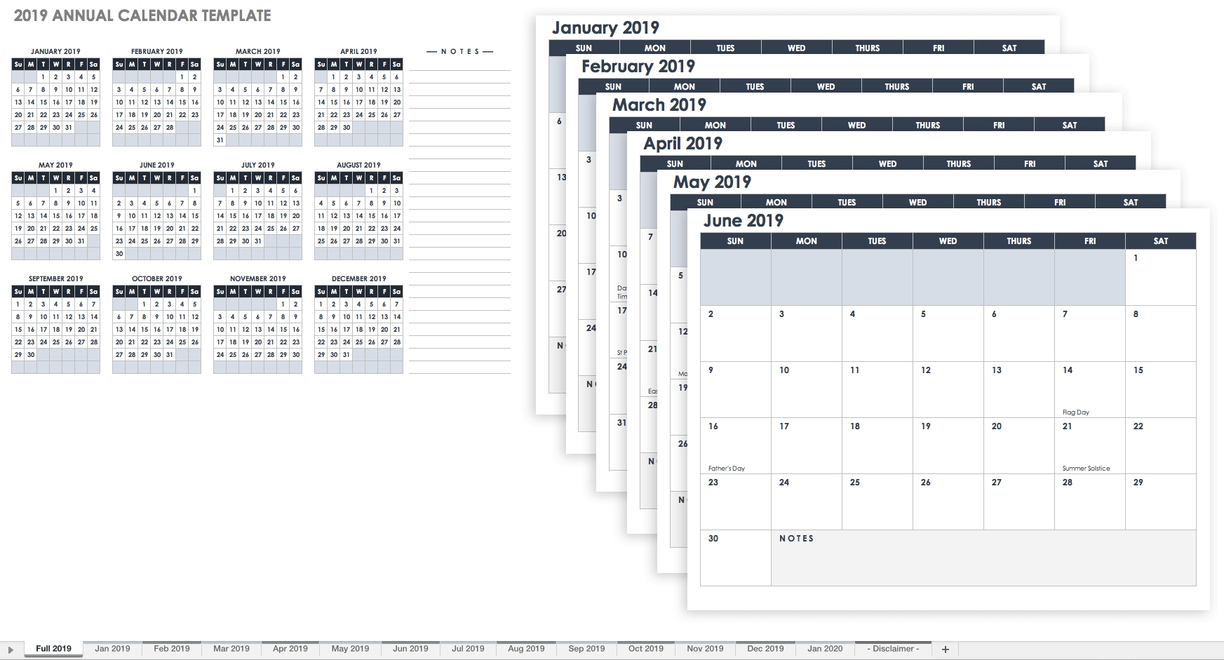 15 Free Monthly Calendar Templates | Smartsheet within Printable Year Calendar 2019 - 2020 With Space To Write