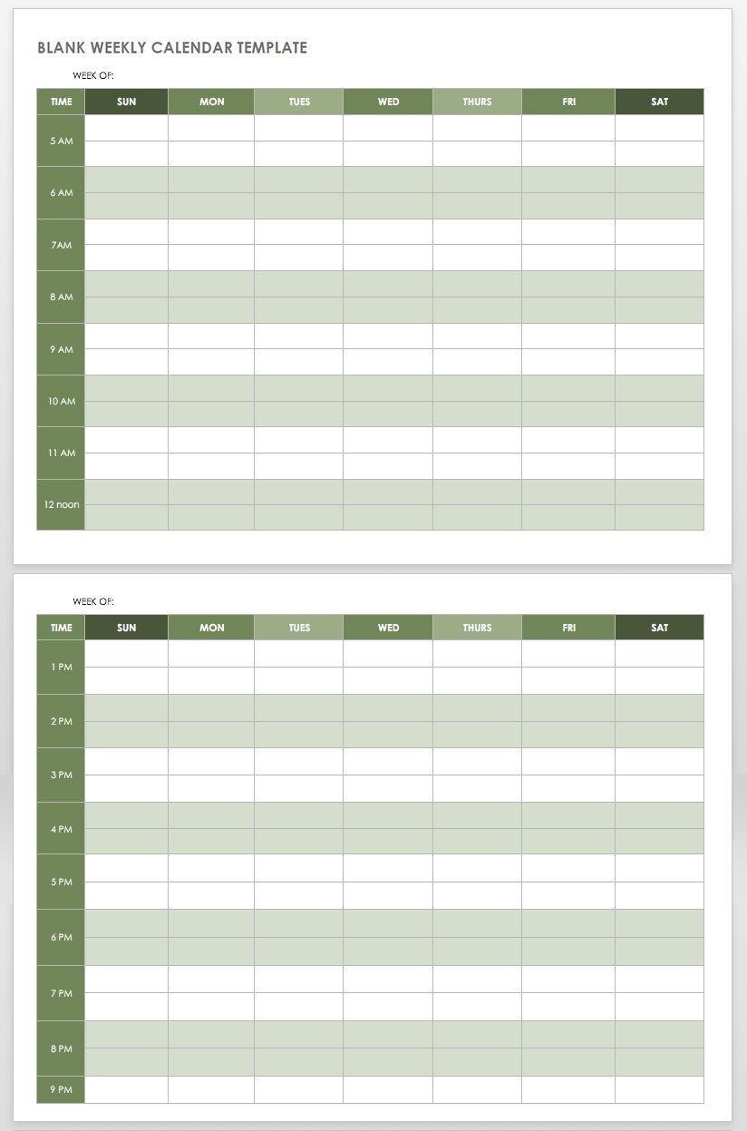 15 Free Weekly Calendar Templates | Smartsheet for One Week Calendar Template With Hours