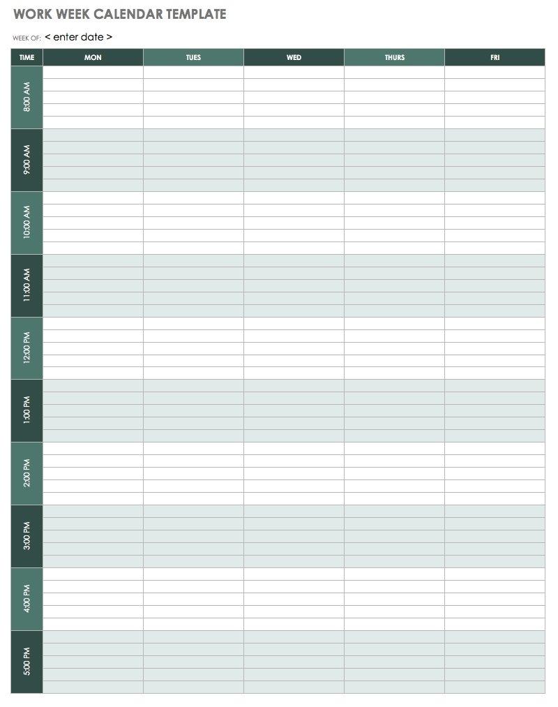 15 Free Weekly Calendar Templates | Smartsheet pertaining to One Week Calendar Template With Hours