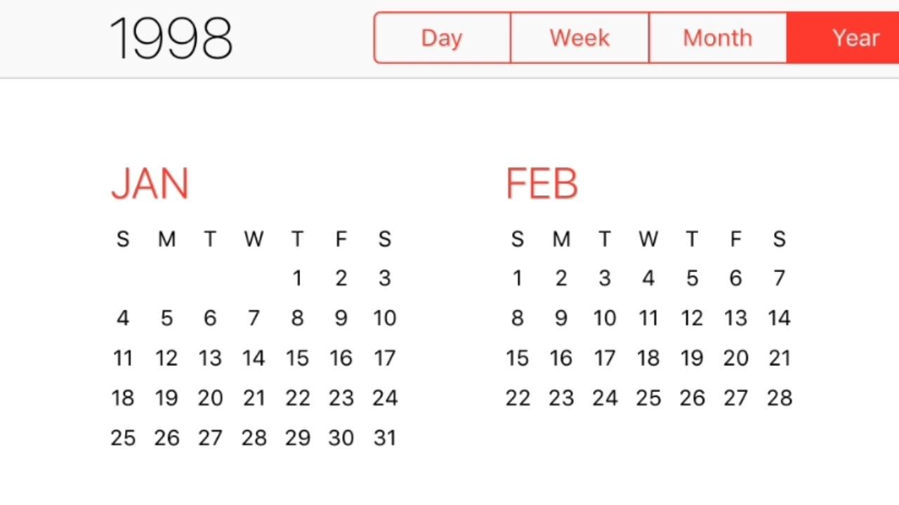 1998 Calendar pertaining to February 6 1998 Hindu Calendar