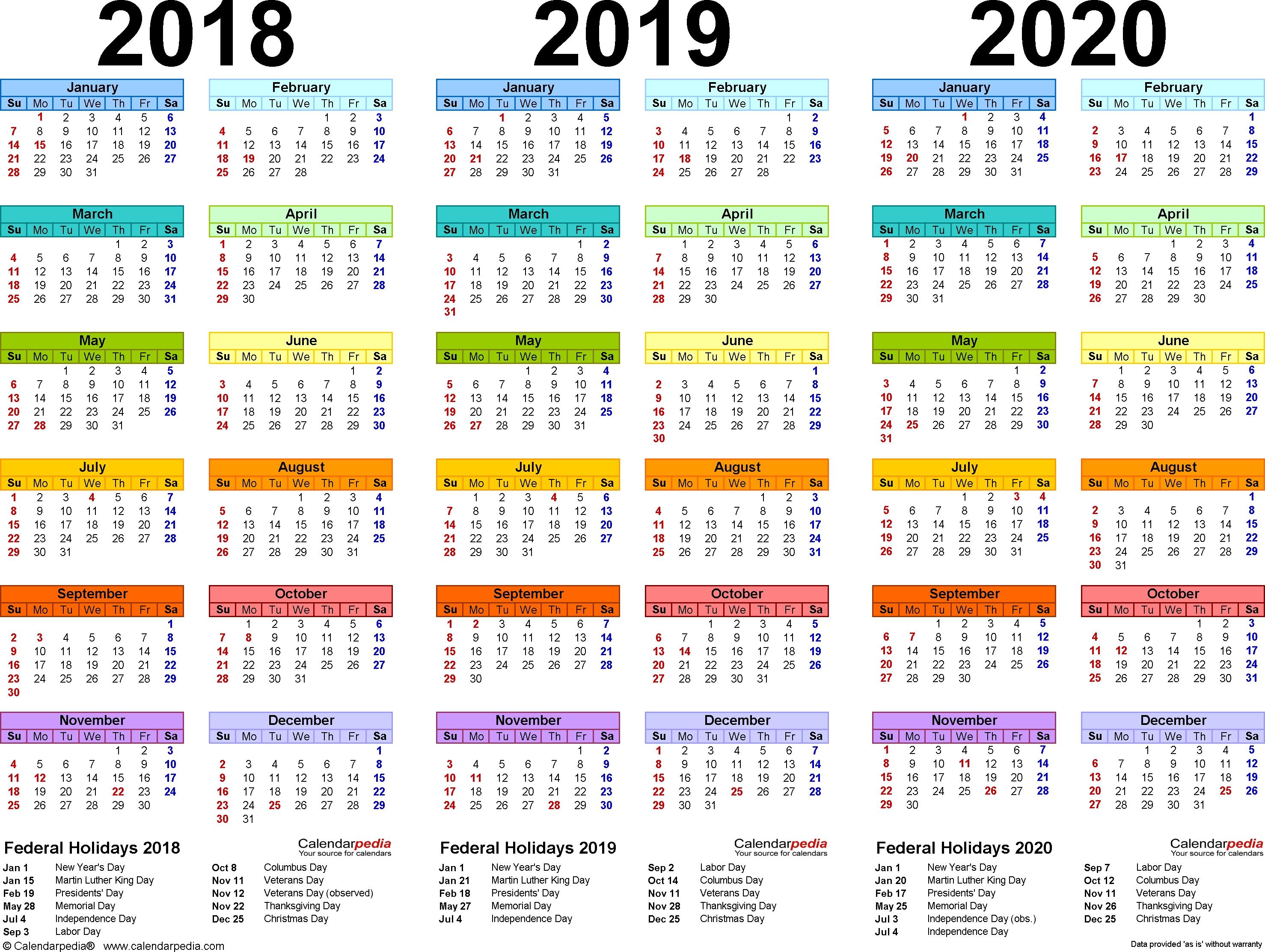 2018/2019/2020 Calendar - 4 Three-Year Printable Word Calendars with regard to Three Year Calendar 2020 -2023