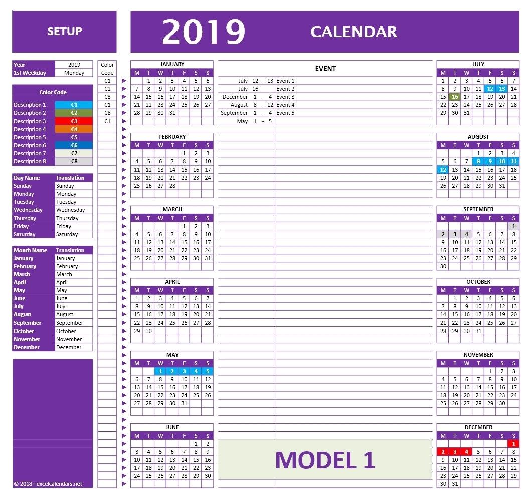 2018-2019-2020 Excel Calendar Templates Yearly Calendar | Etsy inside Calendar 2020 Excell Romania