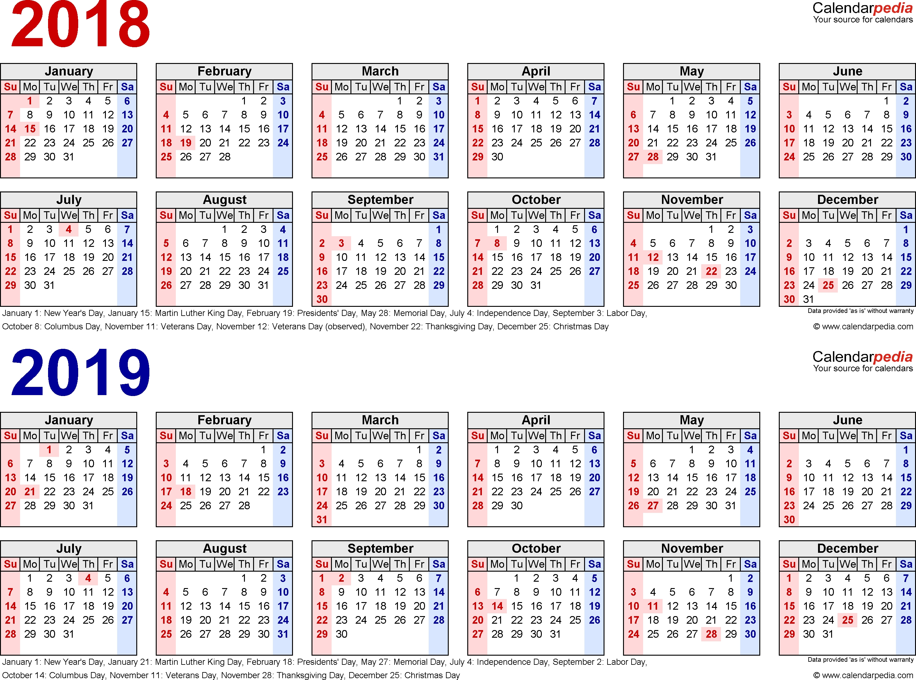 2018-2019 Calendar - Free Printable Two-Year Pdf Calendars intended for Free Printable Calendar With Lines 2019 And 2020