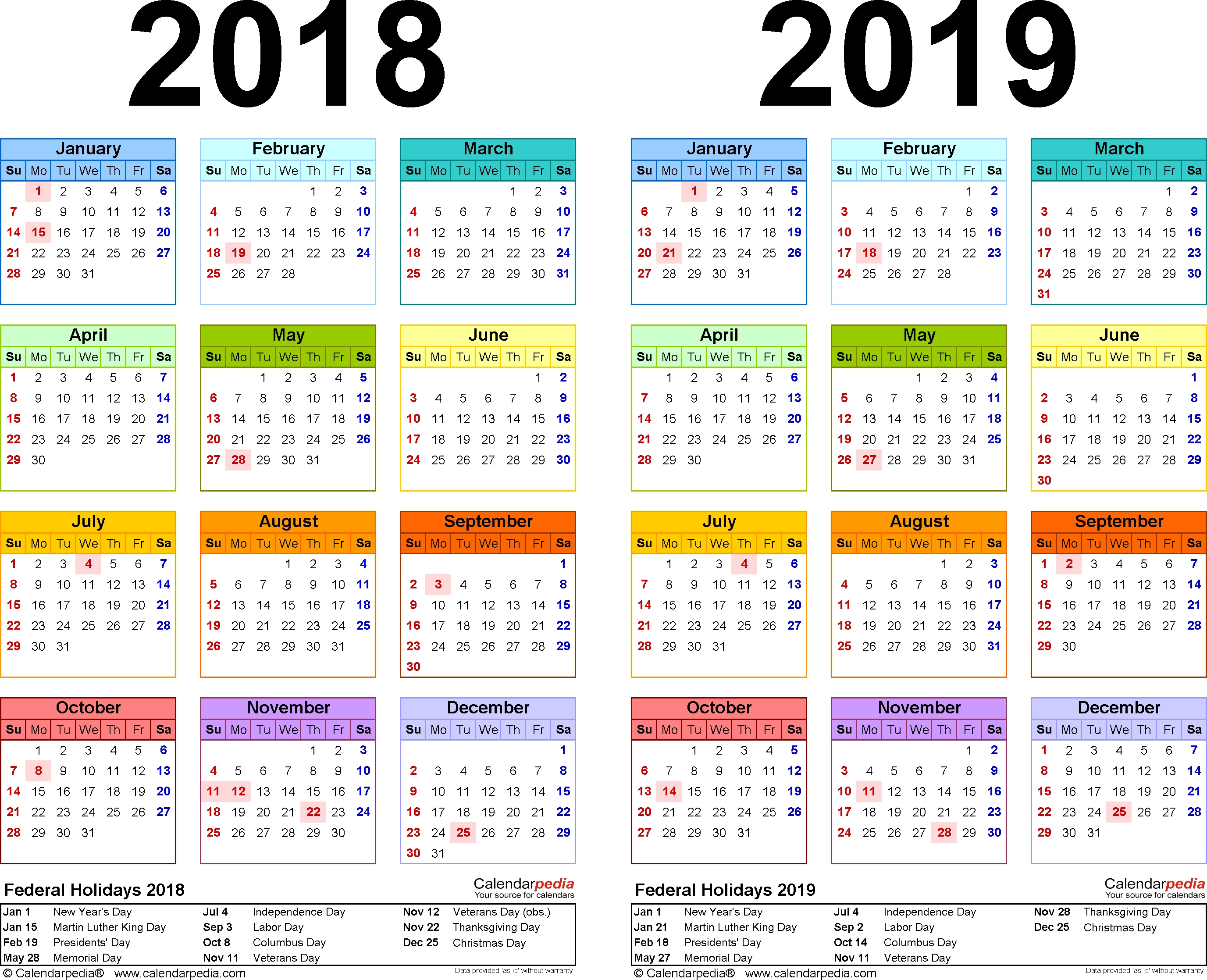 2018-2019 Calendar - Free Printable Two-Year Word Calendars for Printable Year Calendar 2019 - 2020 With Space To Write