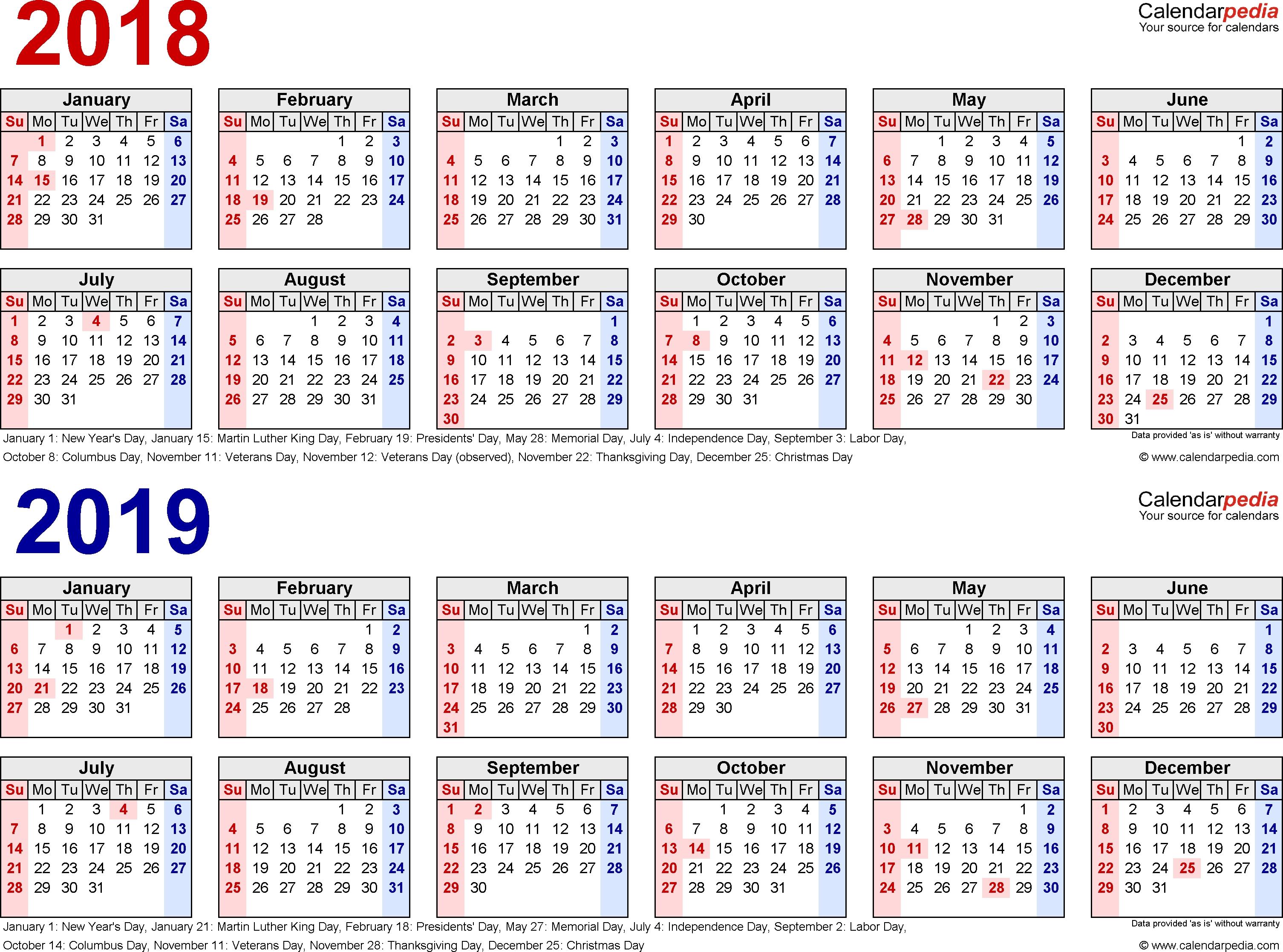 2018-2019 Calendar - Free Printable Two-Year Word Calendars intended for 3 Year Calendar Printable 2018 2019 2020