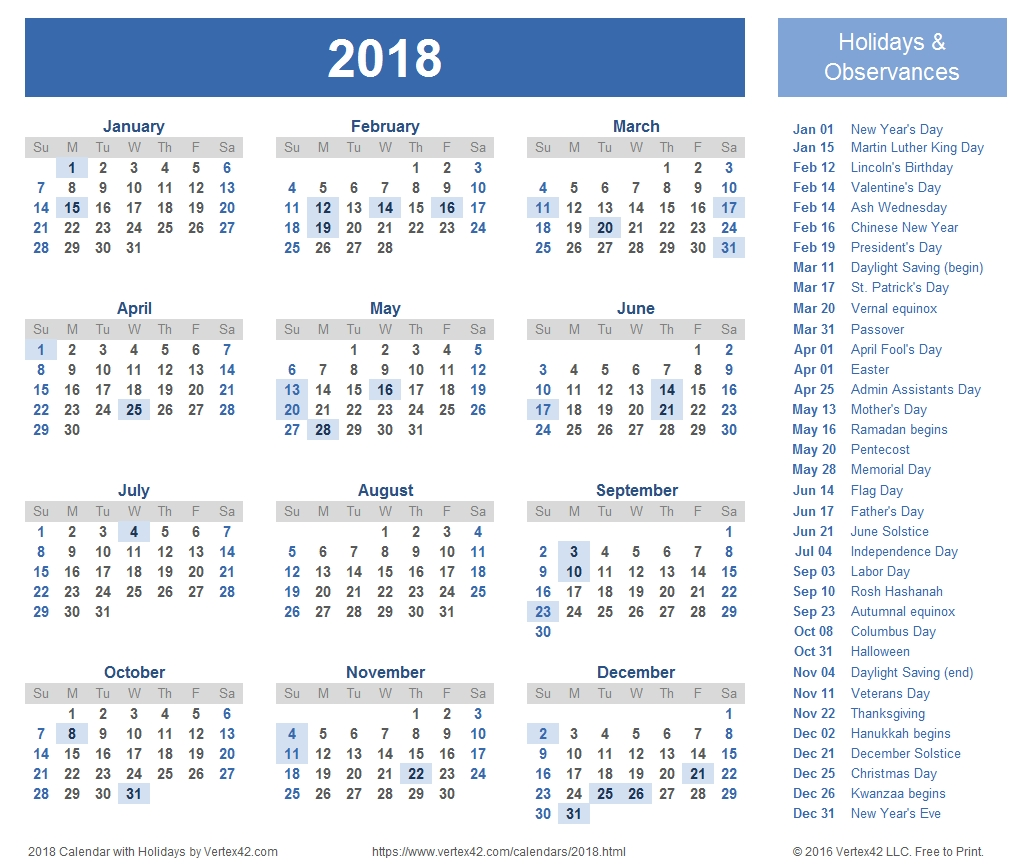 2018 Calendar Templates, Images And Pdfs pertaining to Printable Calendar Monthly 2019-2020 Free 11X17 Large Boxes