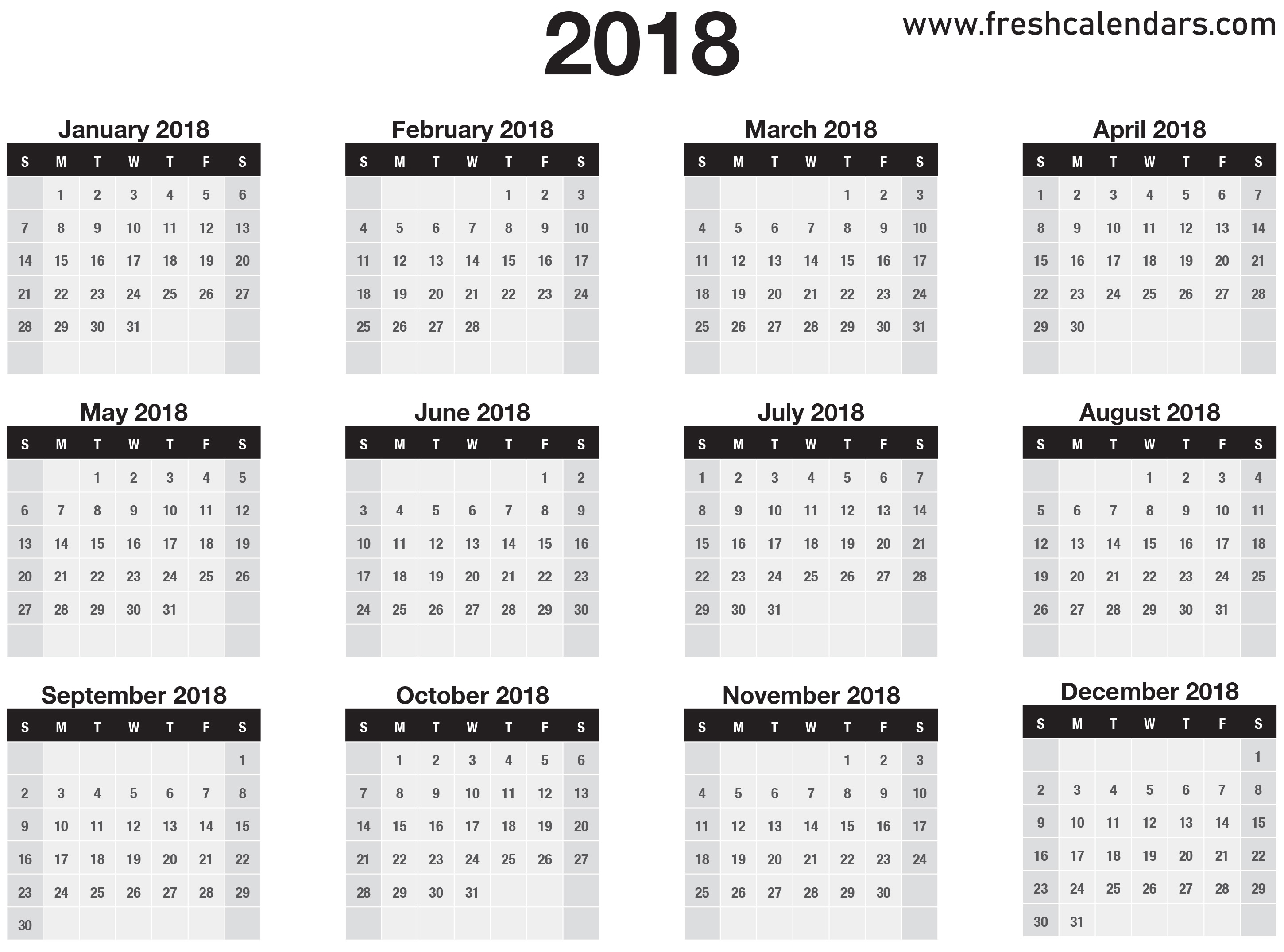 2018 Calendar throughout Monthly Calendar On One Page