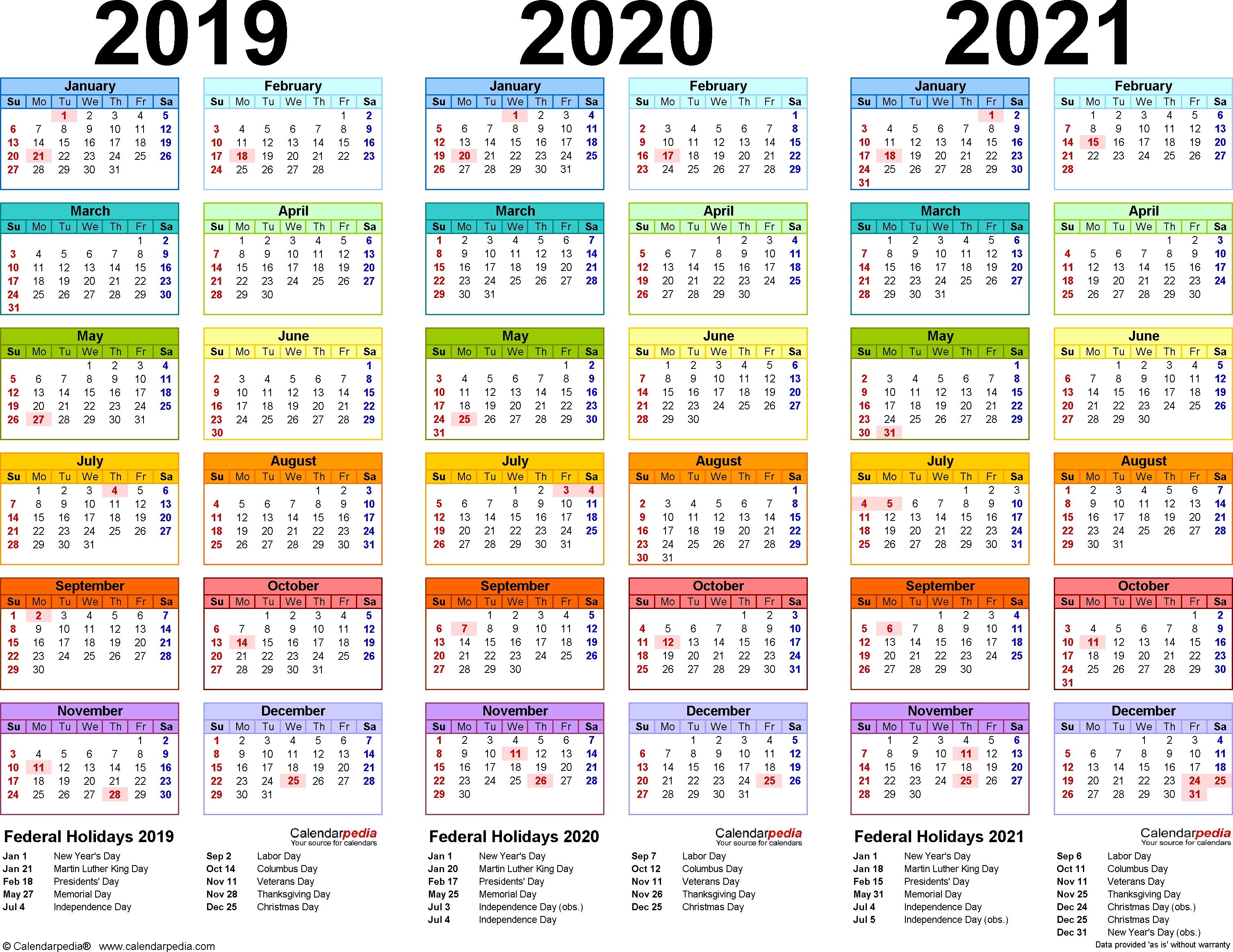 2019/2020/2021 Calendar - 4 Three-Year Printable Excel Calendars with 3 Year Calendar 2019 2020 2021
