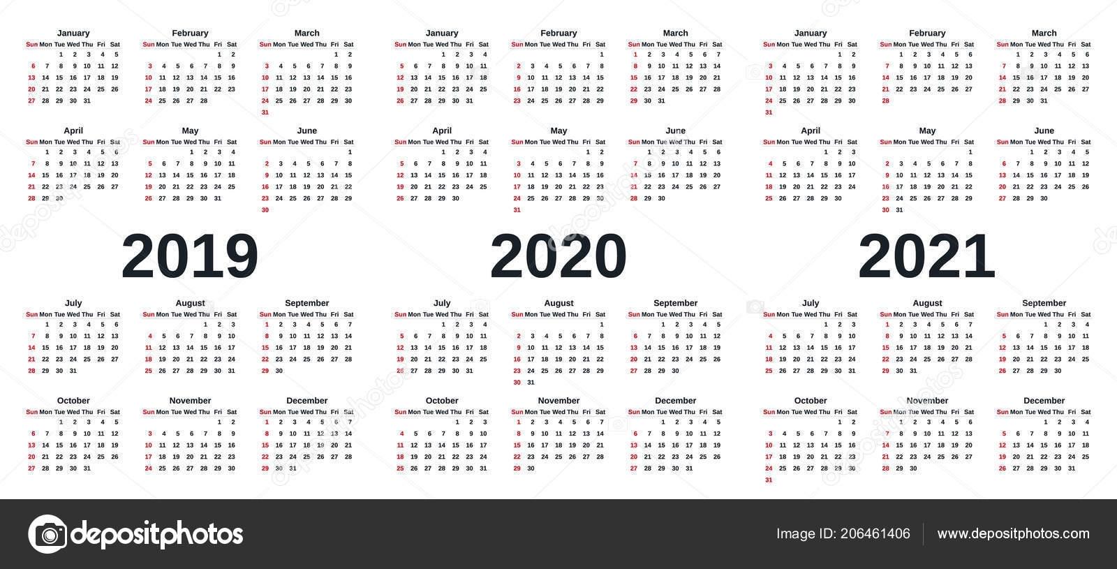 2019 2020 2021 Calendar Vector Graphics Week Starts Sunday Design for Calendar 2019 2020 2021