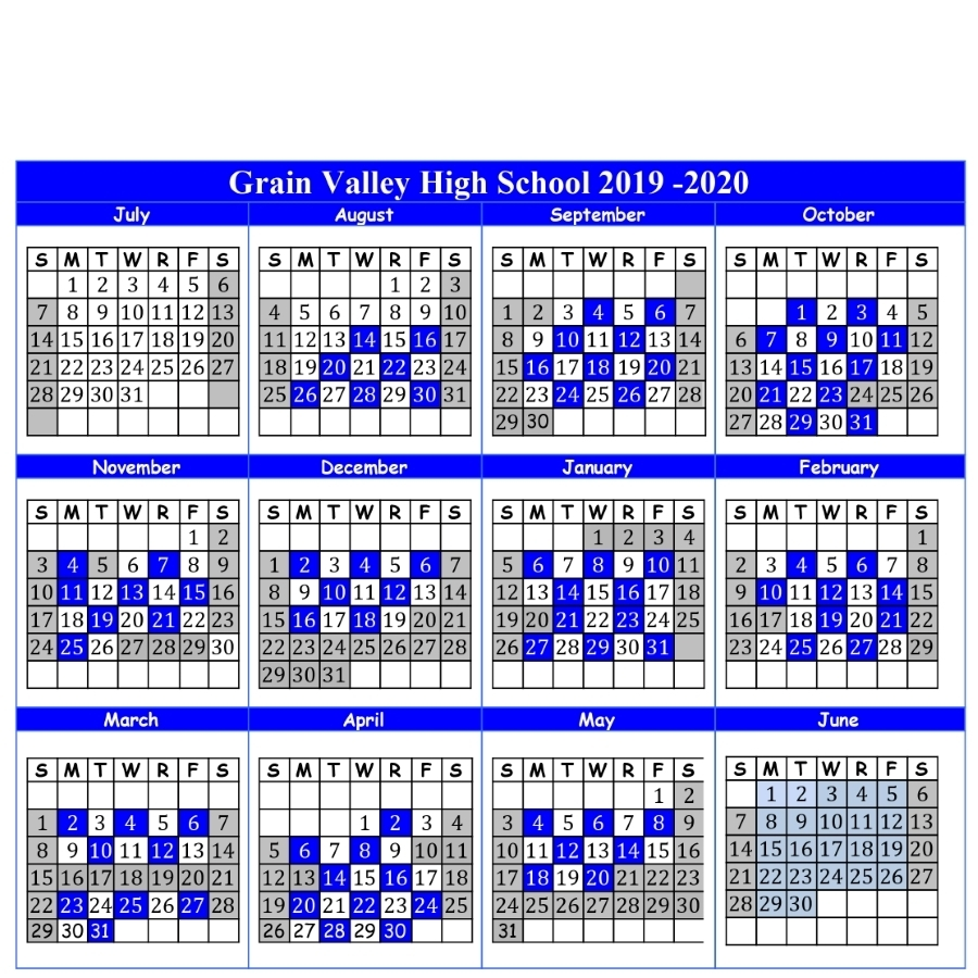 2019-2020 A-B Calendar And Important Dates - Grain Valley High School throughout Calendar 2019-2020 Important Dates
