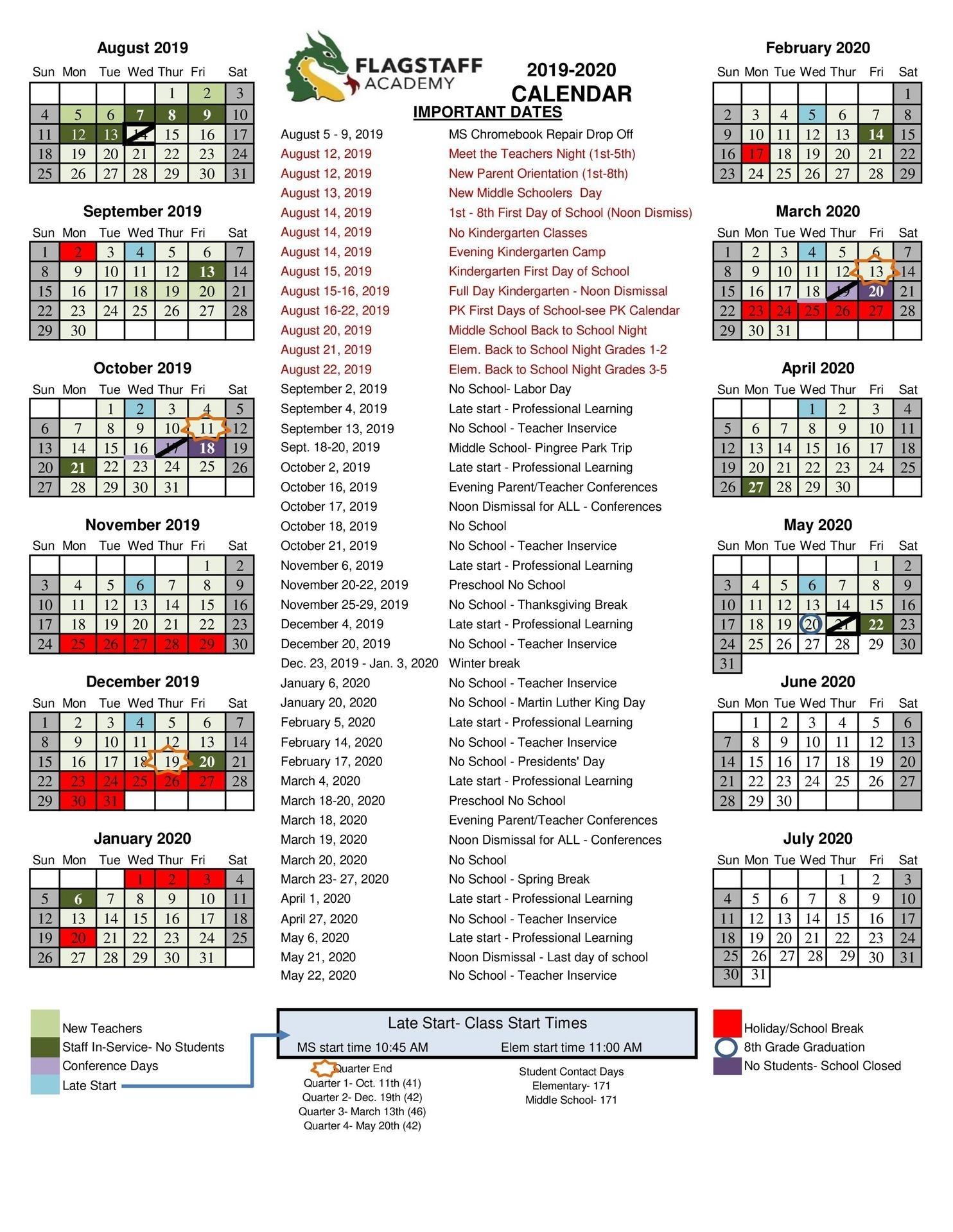 2019-2020 Academic Calendar - Grade Levels & Academics - Flagstaff intended for Homework Calendar 2019-2020