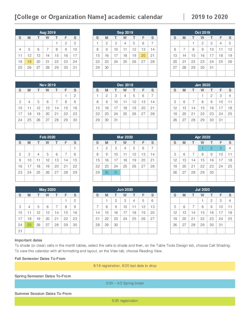 2019-2020 Academic Calendar inside 2019/2020 Calendar On One Page