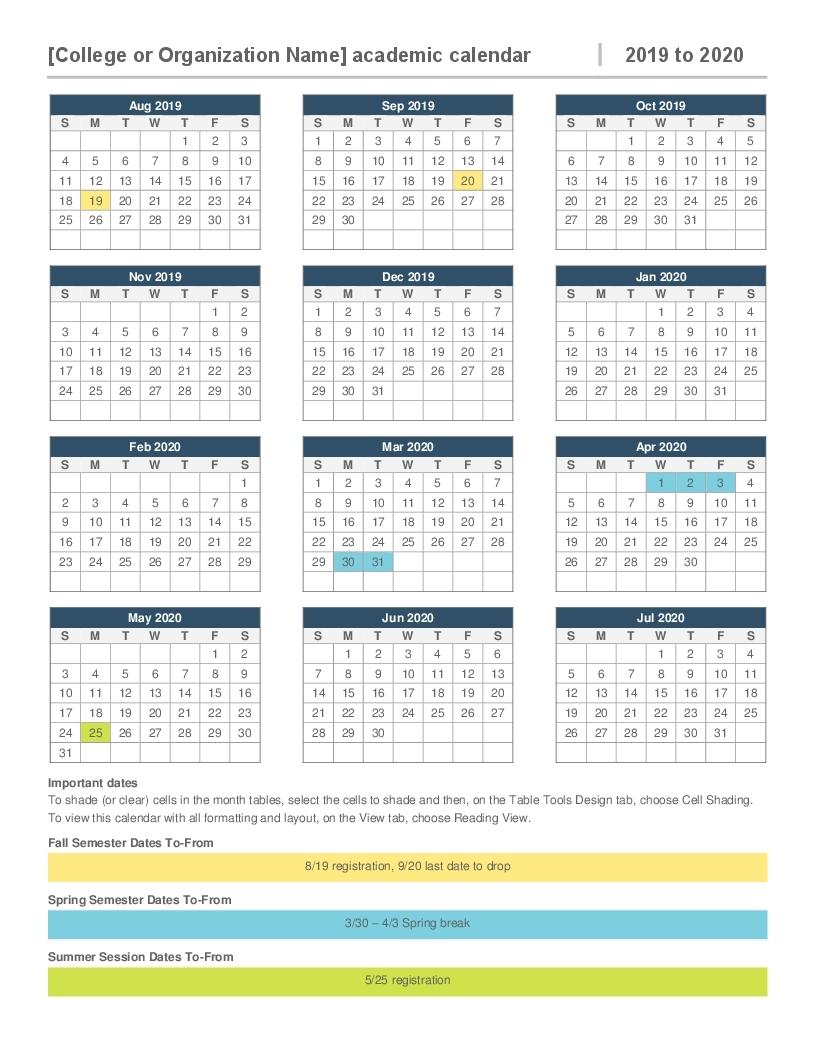 2019-2020 Academic Calendar with Year Long Calendar For 2019-2020 Printable