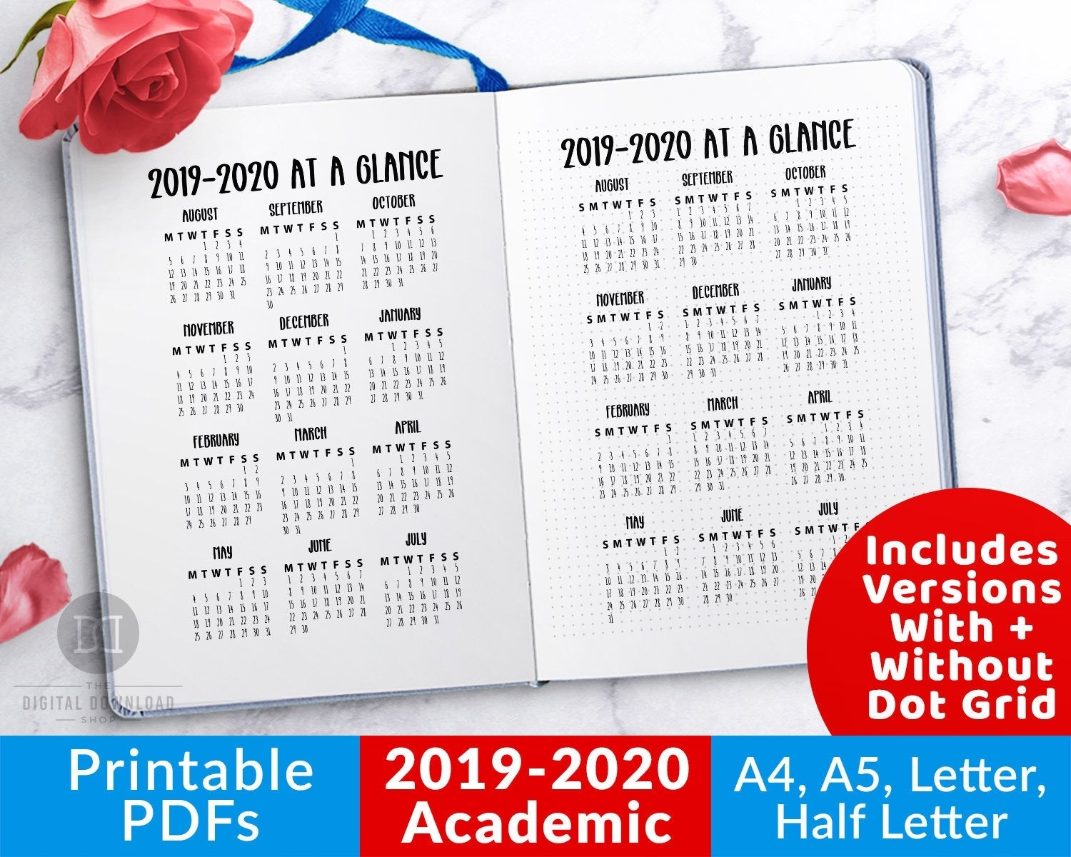 2019-2020 Academic Year At A Glance Printable 2019 Academic | Etsy throughout Year At A Glance 2019-2020