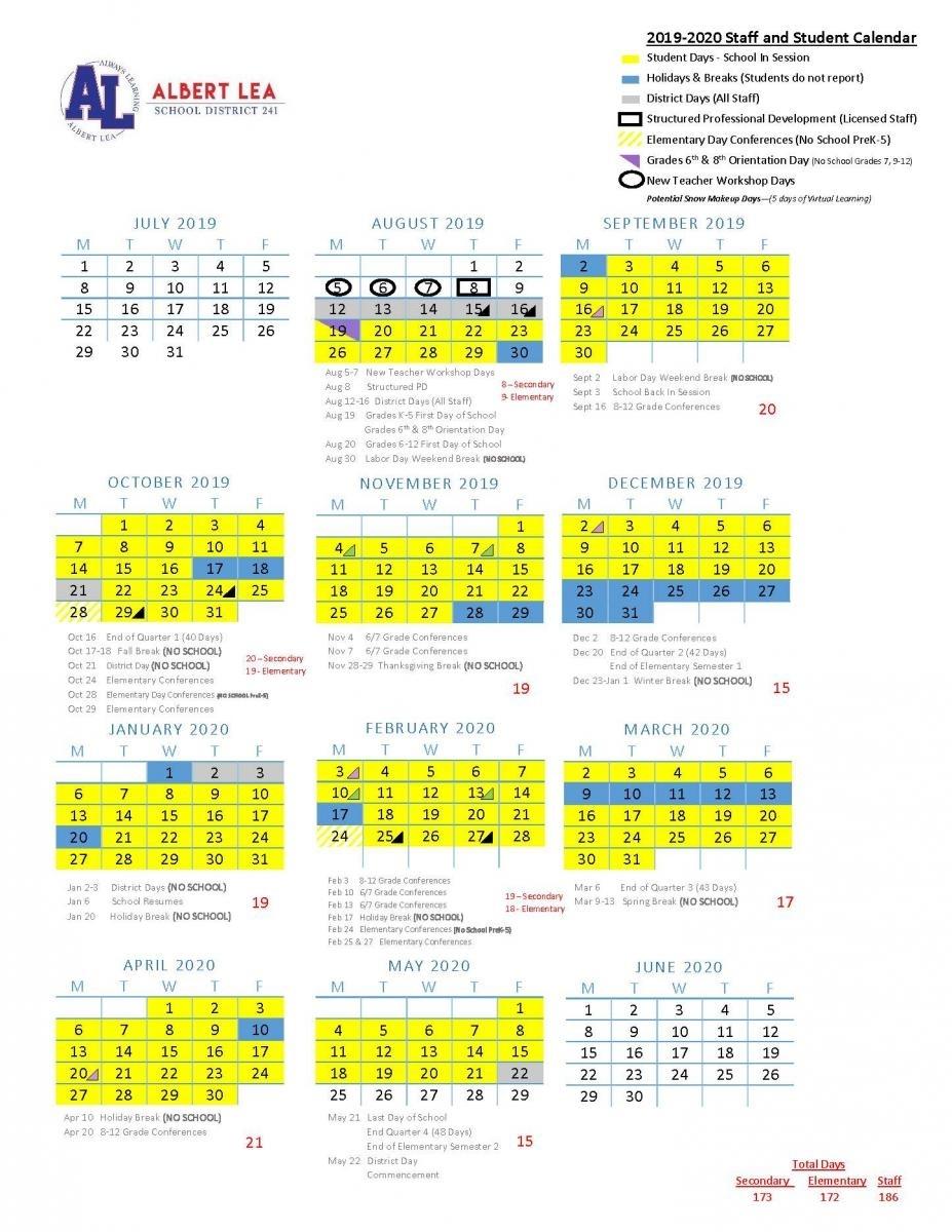 2019-2020 Approved Calendar | Albert Lea Area Schools with regard to Outlook Calendar 2020