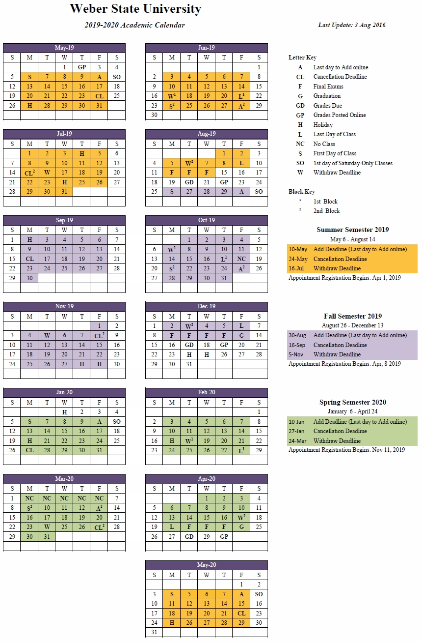 2019-2020 (Approved) pertaining to U Of C Calendar 2019/2020