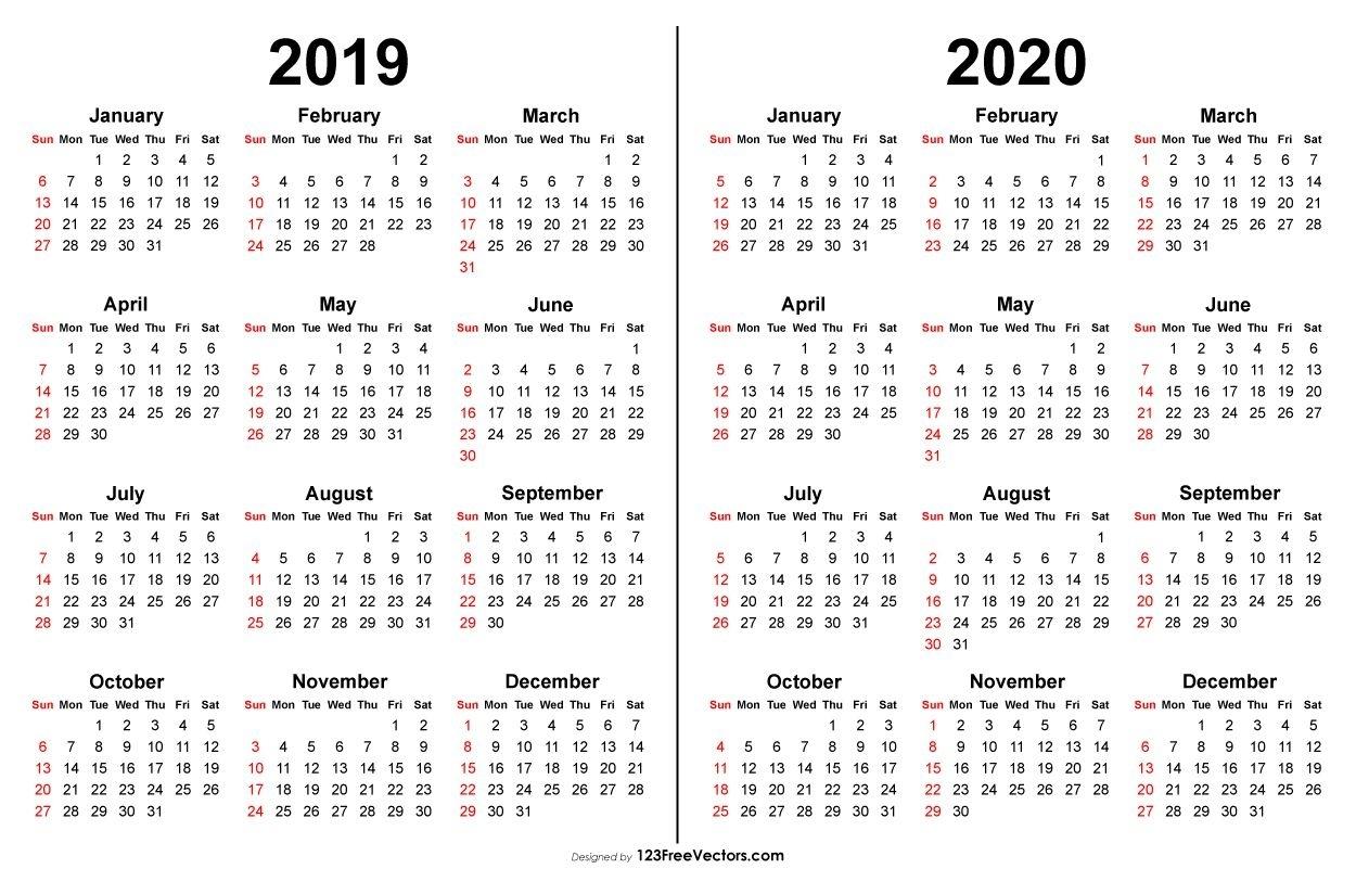 2019 2020 Calendar | 2019 Calendar | Free Printable Calender, Free pertaining to 5X 7 Printable 2019-2020
