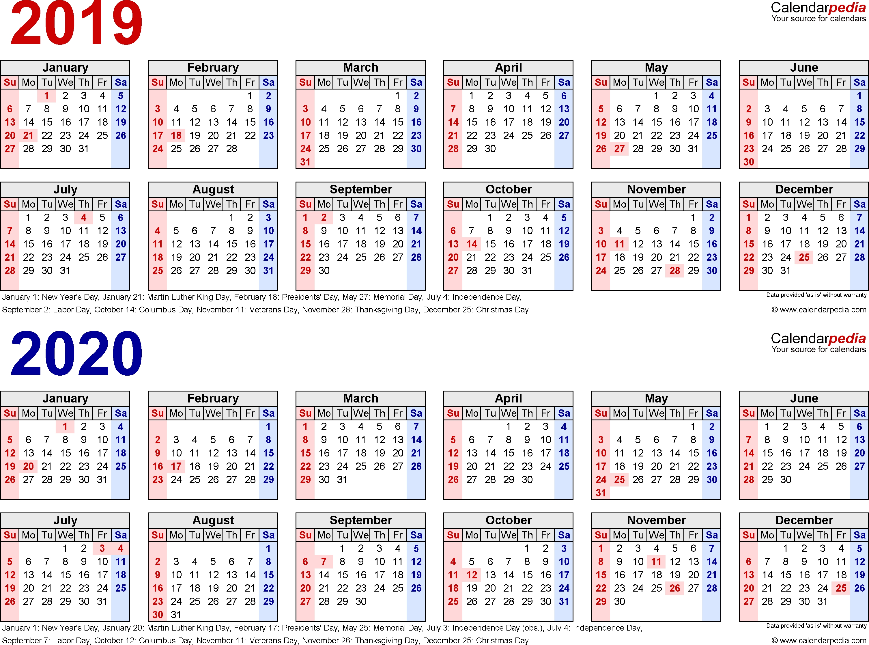 2019-2020 Calendar - Free Printable Two-Year Pdf Calendars with 1 Page Calendar 2019-2020 With Major Holidays