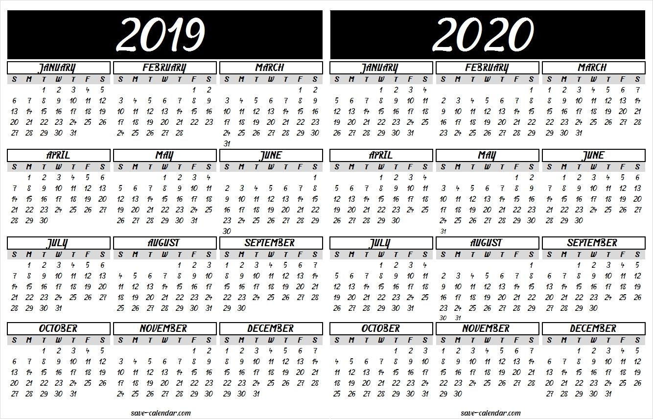 2019 2020 Calendar Printable | 2019 Calendar | Calendar 2020 with 2019-2020 Large Calandar