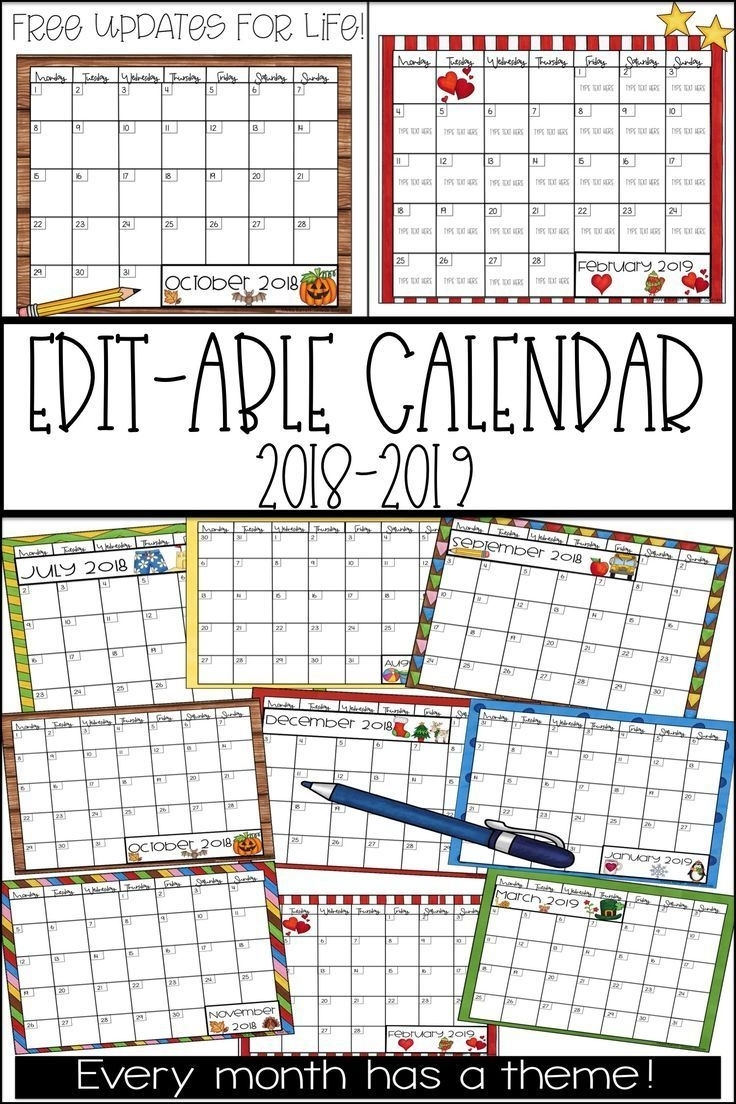 2019-2020 Calendar Printable | All Kindergarten @tpt | Classroom regarding Calendar For 2019 And 2020 To Edit