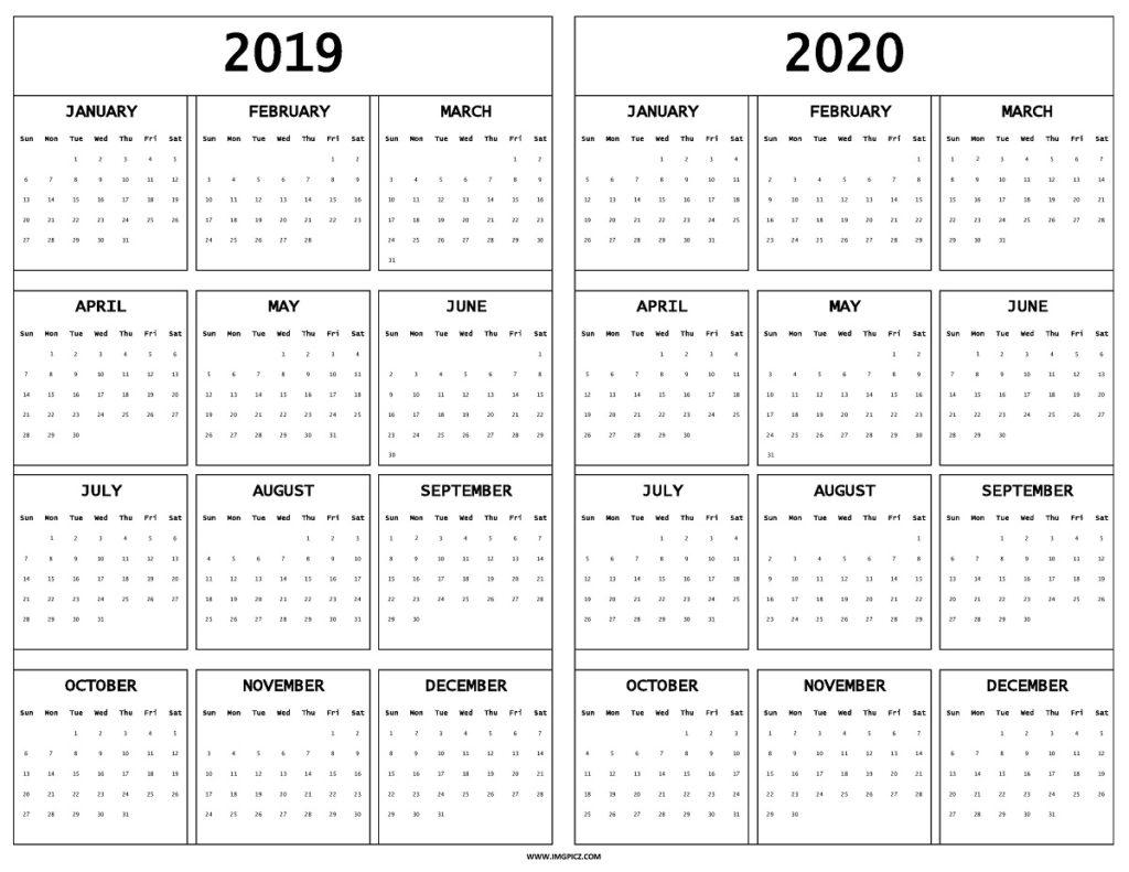 2019 2020 Calendar Printable Template On One Sheet   Excel, Pdf in Printable Fill In Calendar 2019 - 2020