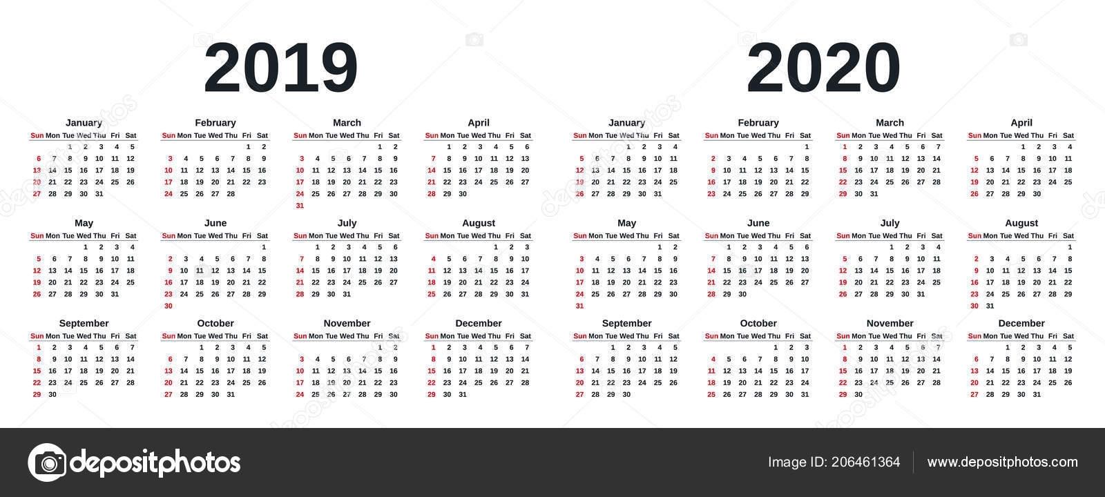 2019 2020 Calendar Vector Graphics Week Starts Sunday Design in 2020 Calendar Monday To Sunday