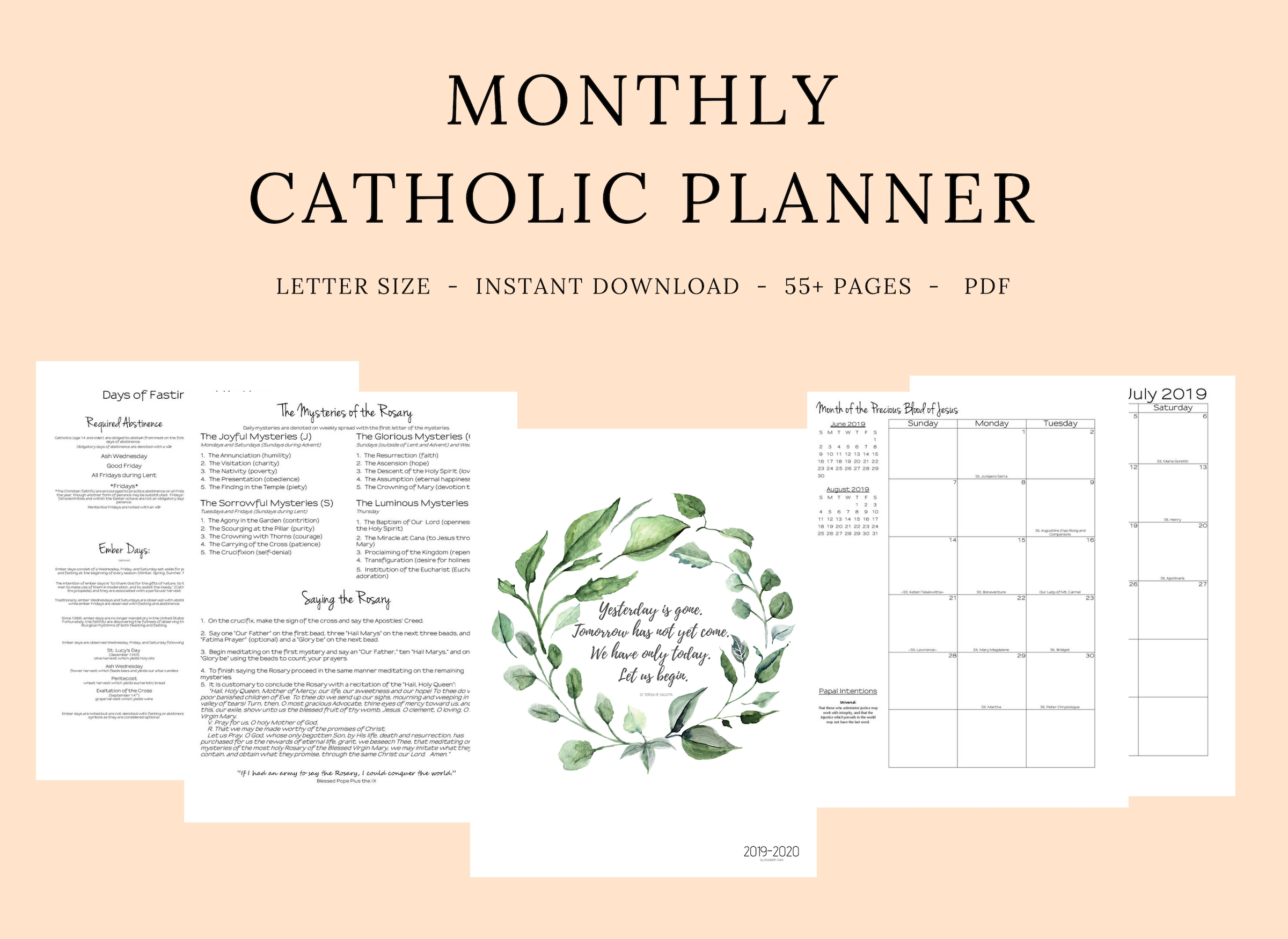 2019- 2020 Catholic Monthly Planner - Elizabeth Clare within Printable Catholic Liturgical Calendar 2020