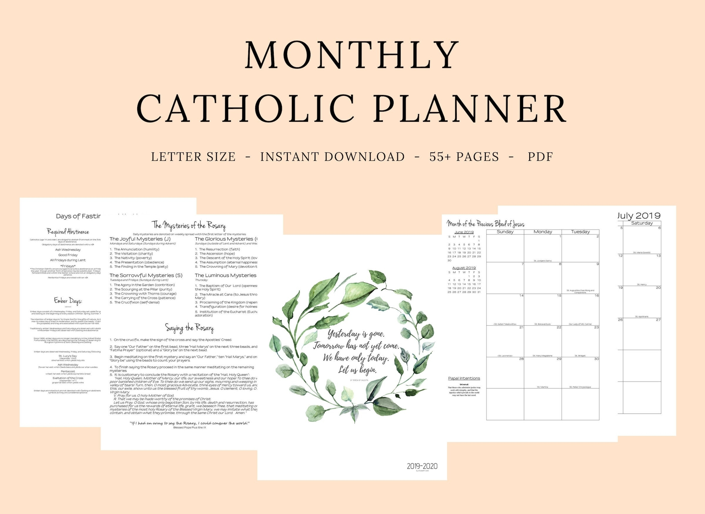 2019 2020 Catholic Planner Monthly Printable: Monthly | Etsy for Free Catholic Liturgical Calendar For 2020