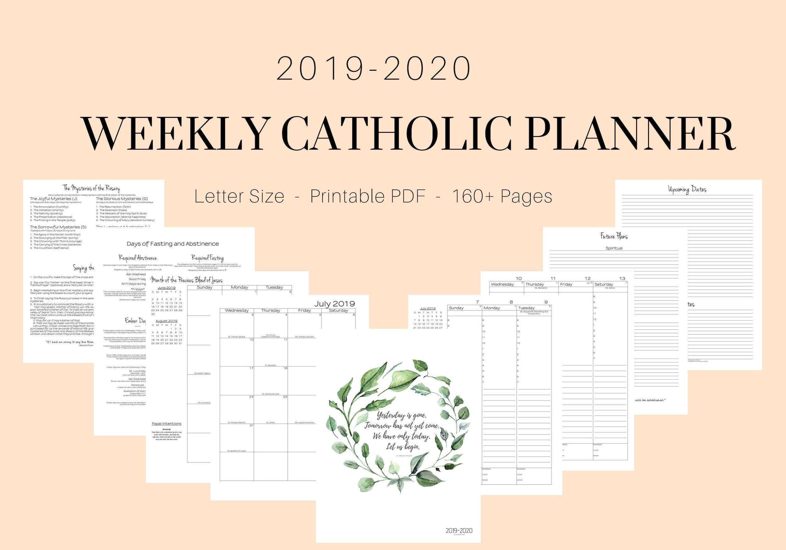 2019 2020 Catholic Planner Weekly Printable: Daily Planner | Etsy pertaining to Catholic Liturgical Calendar 2020 Pdf