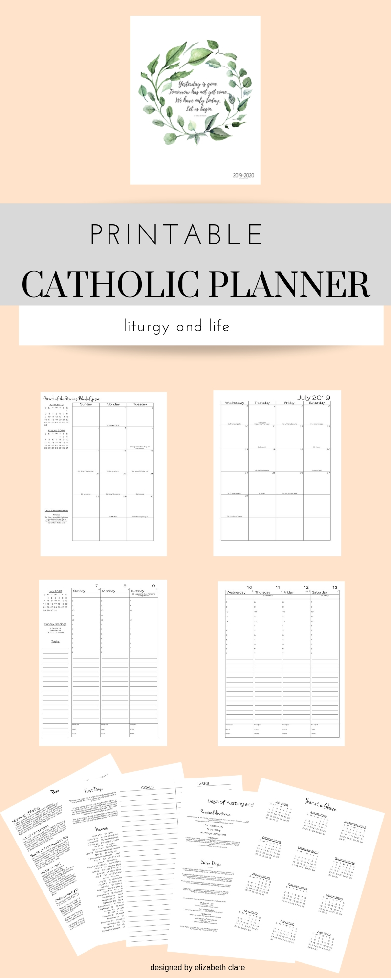 2019 - 2020 Catholic Planner Weekly Printable: Daily Planner inside Free Catholic Liturgical Calendar For 2020