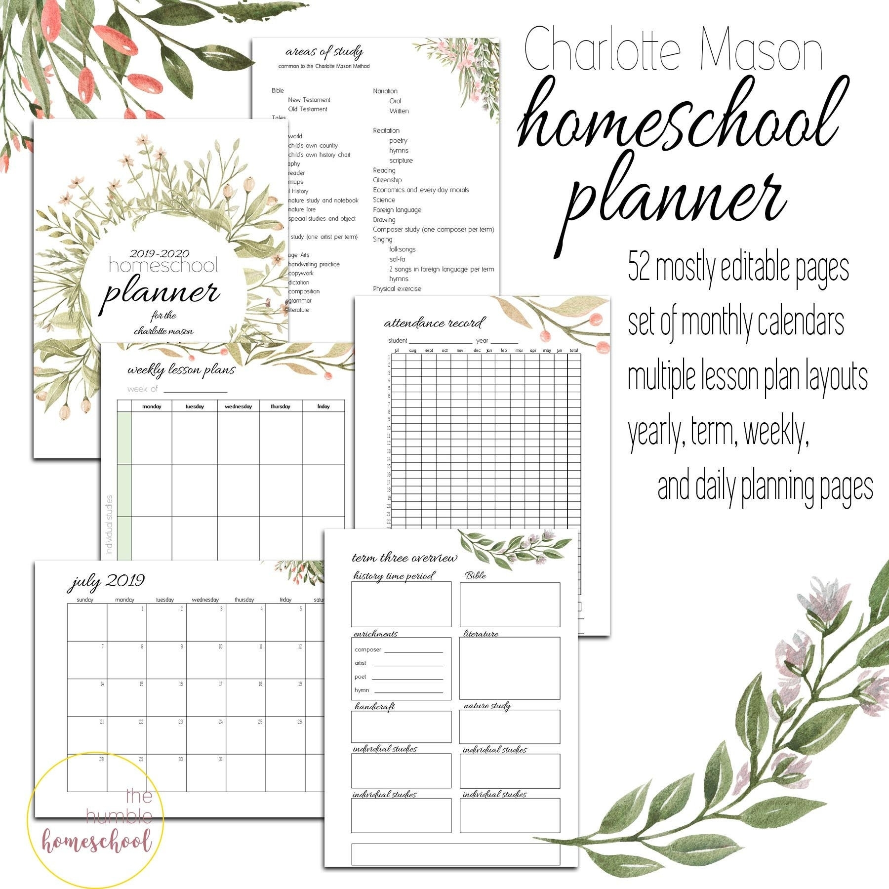 2019-2020 Charlotte Mason Homeschool Planner Editable | Etsy for Homeschool Year At A Glance 2019-2020 Botanical Calendar Printable Free
