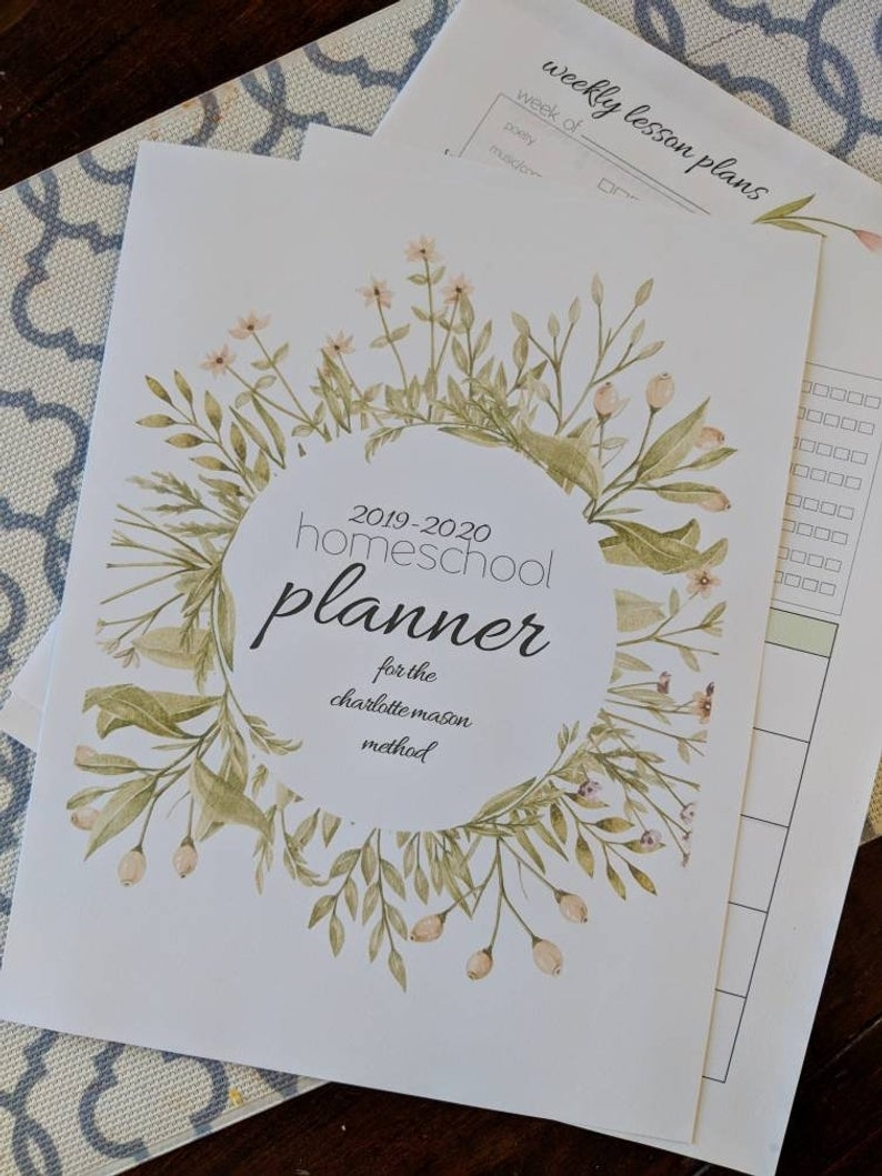 2019-2020 Charlotte Mason Homeschool Planner Editable | Etsy with Homeschool Year At A Glance 2019-2020 Botanical Calendar Printable Free