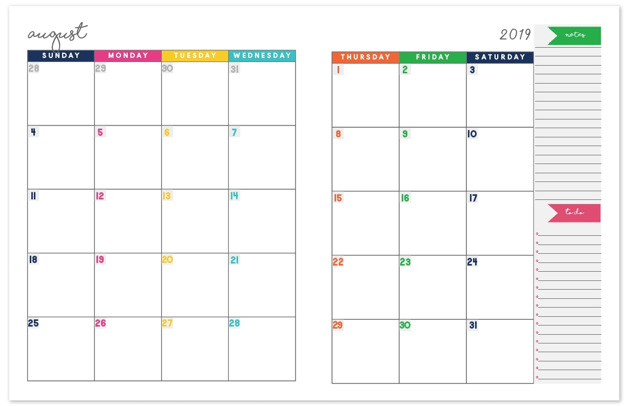 2019-2020 Monthly Calendar Planner | Free Printable Calendar Download throughout Printable Month To Month Clalanders Wityh Lines  2019/2020