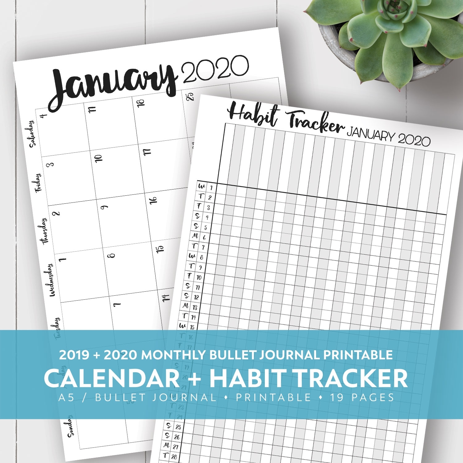 2019 + 2020 Monthly Printable Calendar + Habit Tracker Kit | Laura intended for Free Yearly 5.5 X 8.5 Calendar 2020