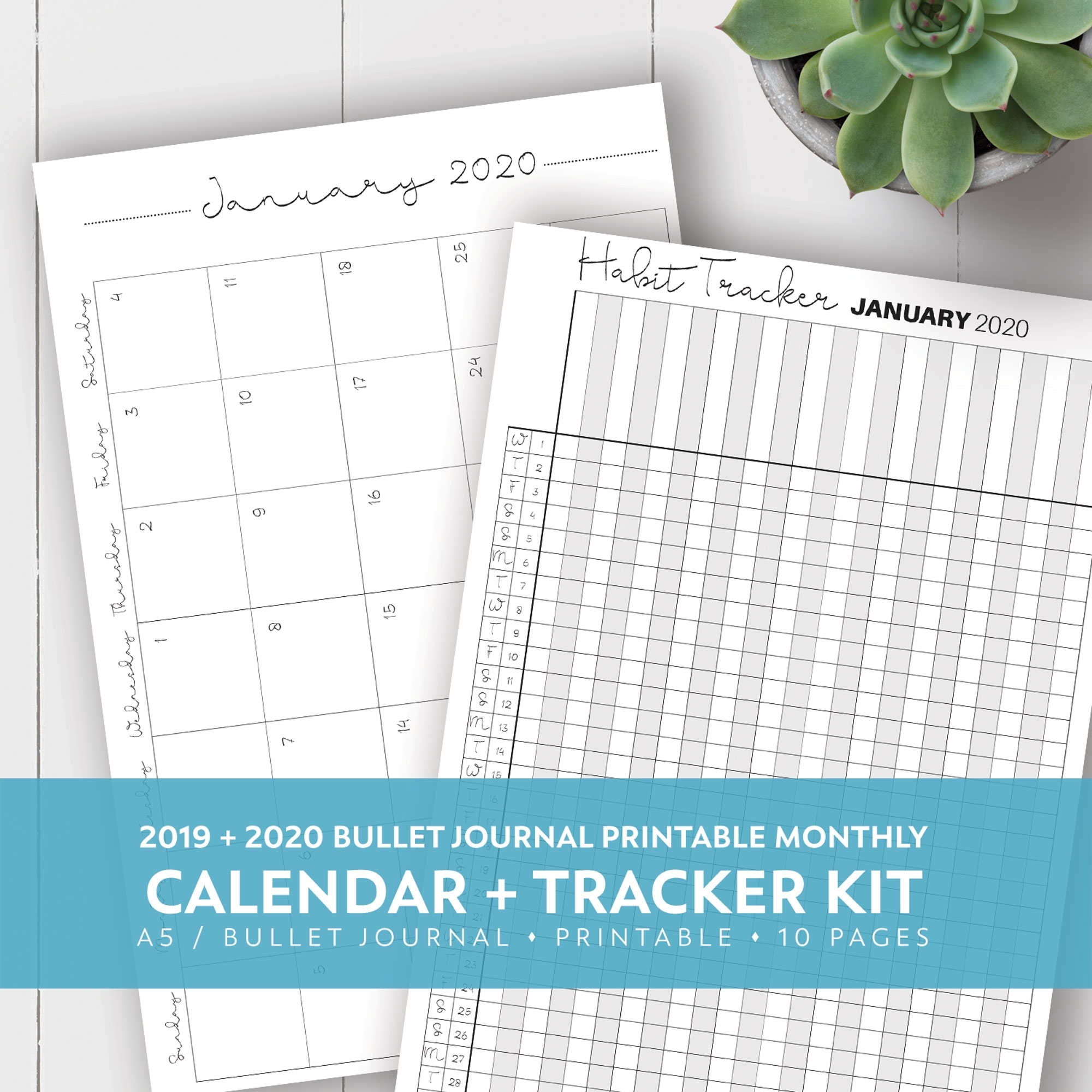 2019 + 2020 Monthly Printable Calendar + Habit Tracker Kit | Laura regarding Free Yearly 5.5 X 8.5 Calendar 2020