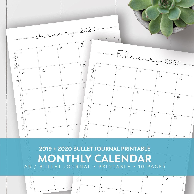 2019 + 2020 Monthly Printable Calendar | Laura Kinker Designs pertaining to 2020 Printable Calendar 8.5 X 11 Free