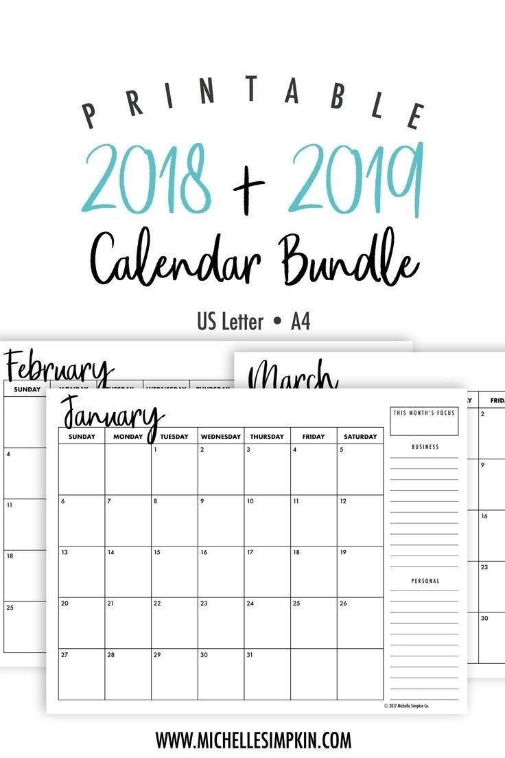 2019 & 2020 Printable Monthly Calendars Bundle • Landscape • Us for Free 2020 Printable Pocket Calendar
