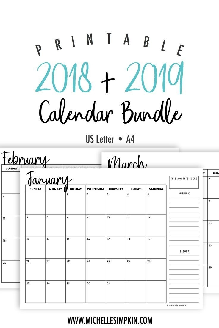 2019 & 2020 Printable Monthly Calendars Bundle • Landscape • Us intended for Free Yearly 5.5 X 8.5 Calendar 2020